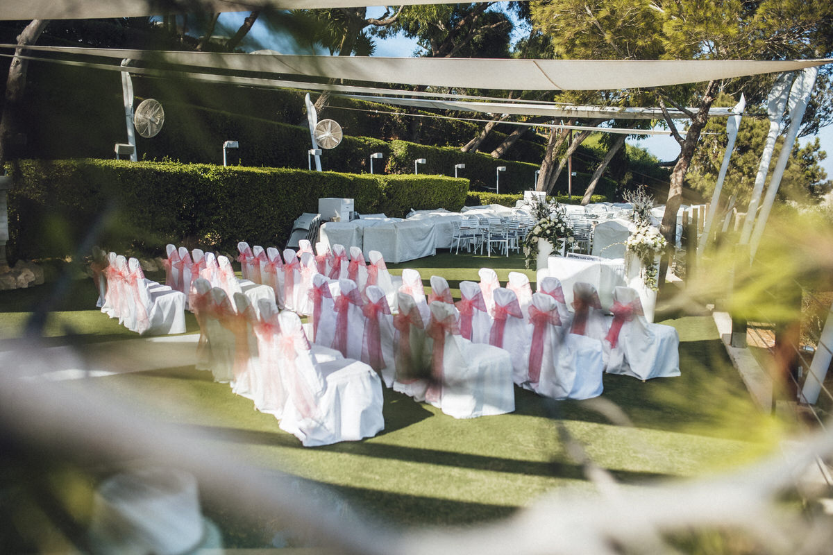 ceremony space with chairs and decorations