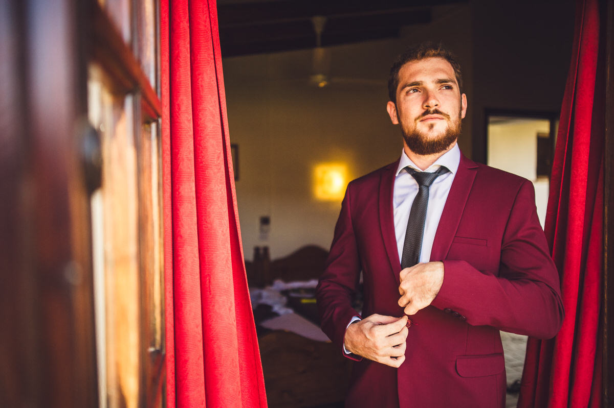 deep red suit