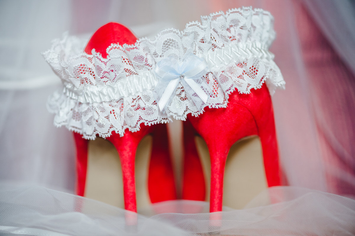 Saucy lace garter and red shoes