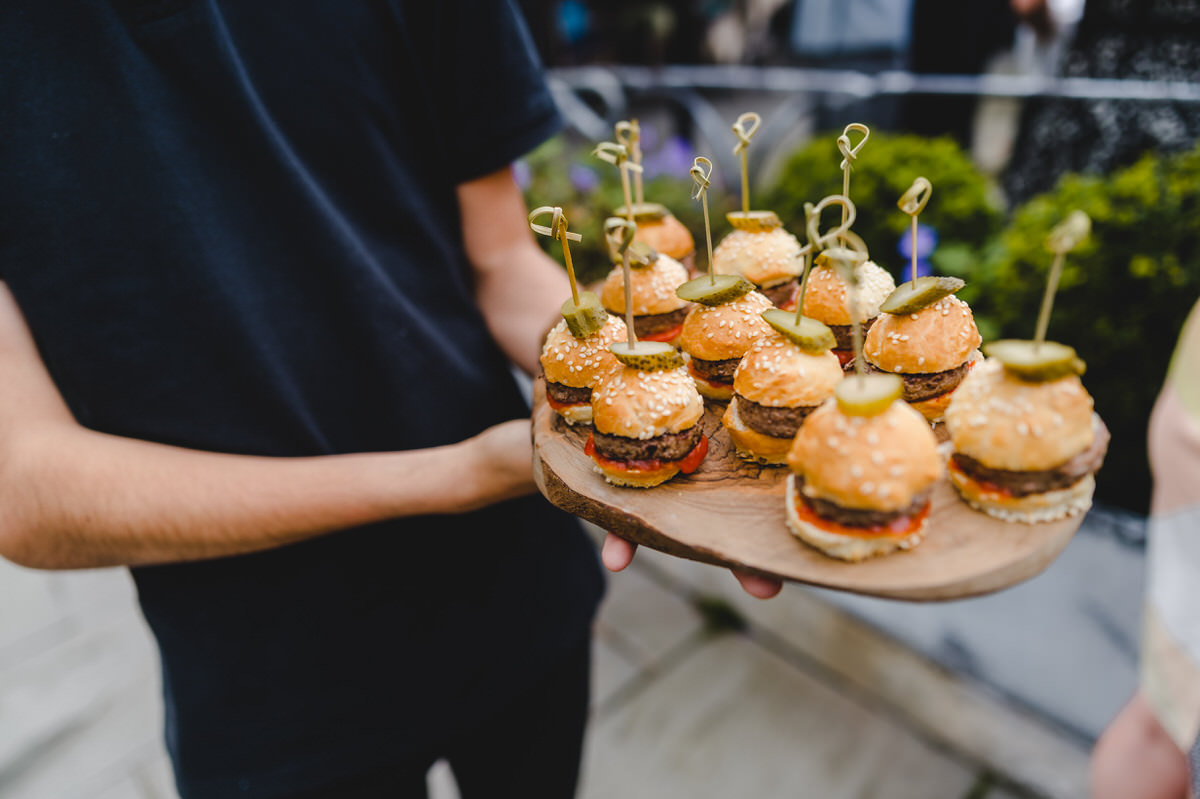 mini burgers for the wedding guests