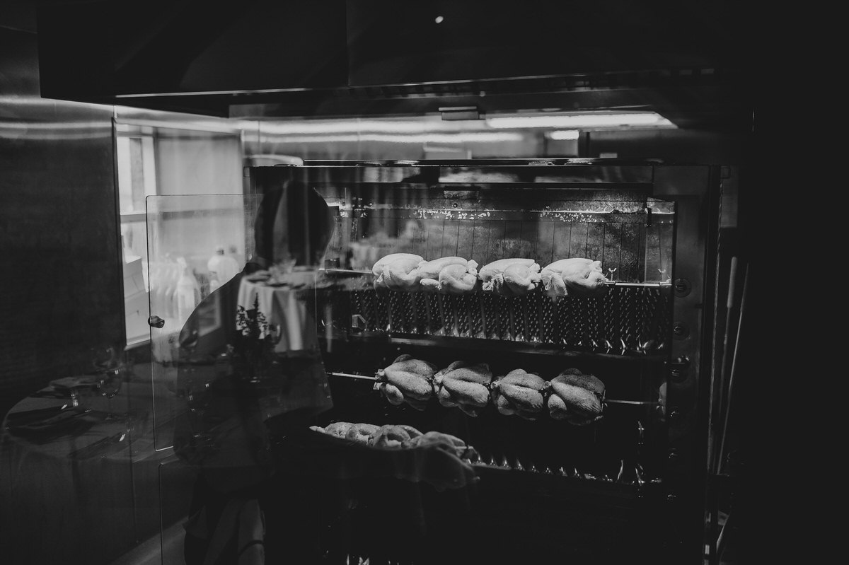 chicken roasting on an rotisserie