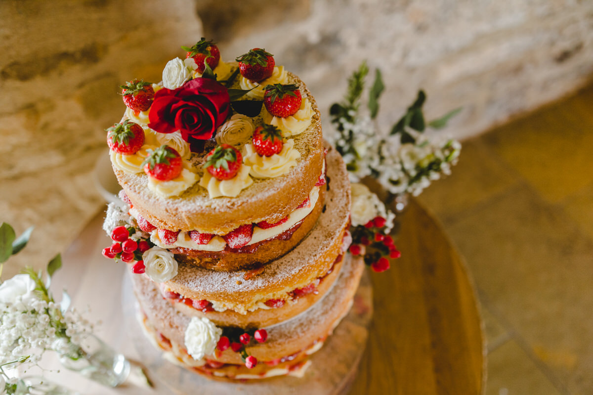 naked cake with strawberries and cream