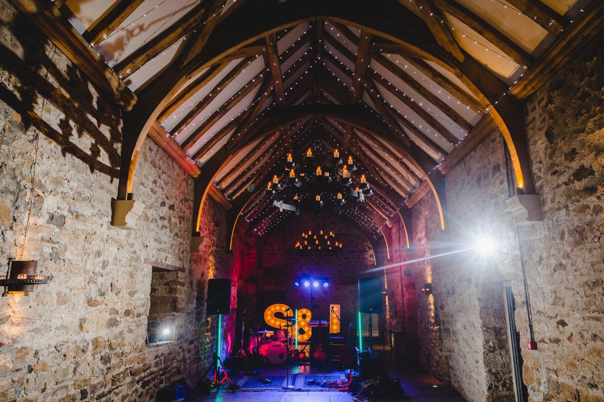 venue lighting and band set up