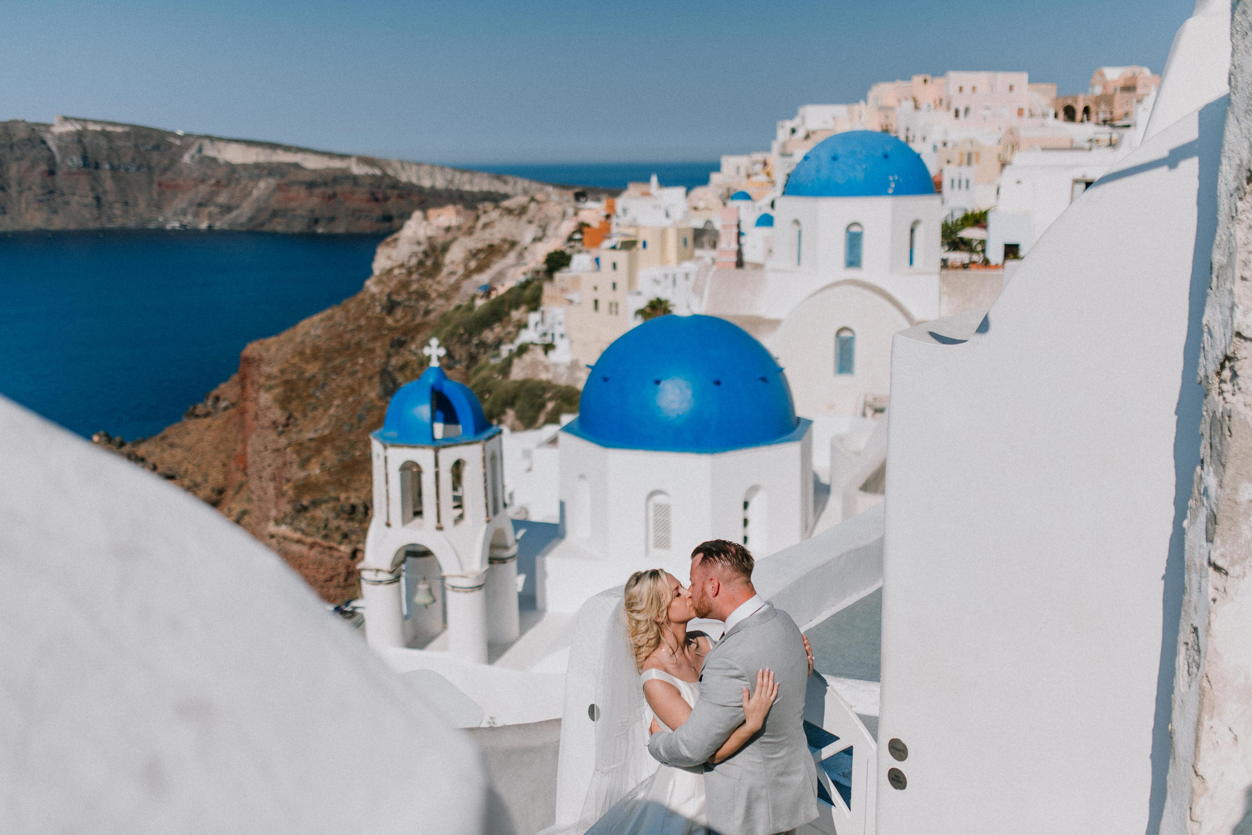 santorini three blue churches