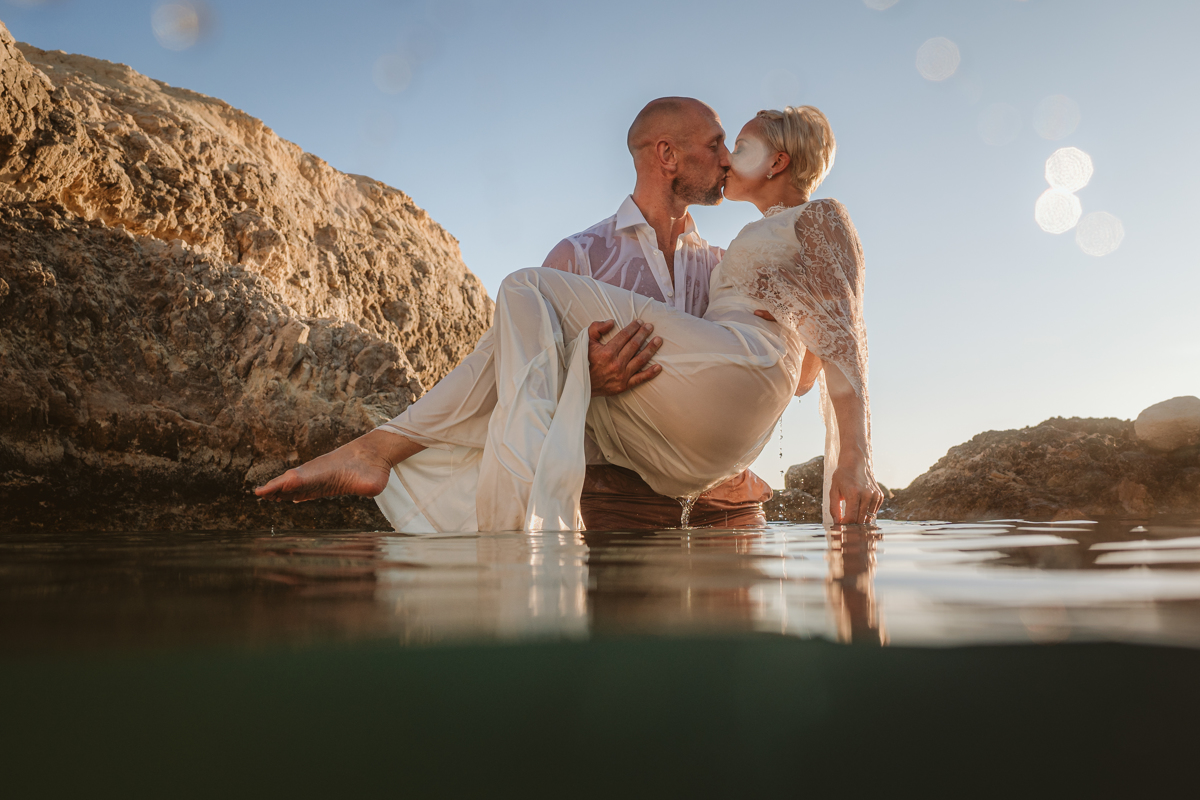 Alana & Luke's Sensational Underwater Cyprus Sea Caves Trash the Dress Shoot 14