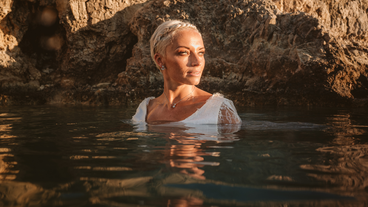 Alana & Luke's Sensational Underwater Cyprus Sea Caves Trash the Dress Shoot 16