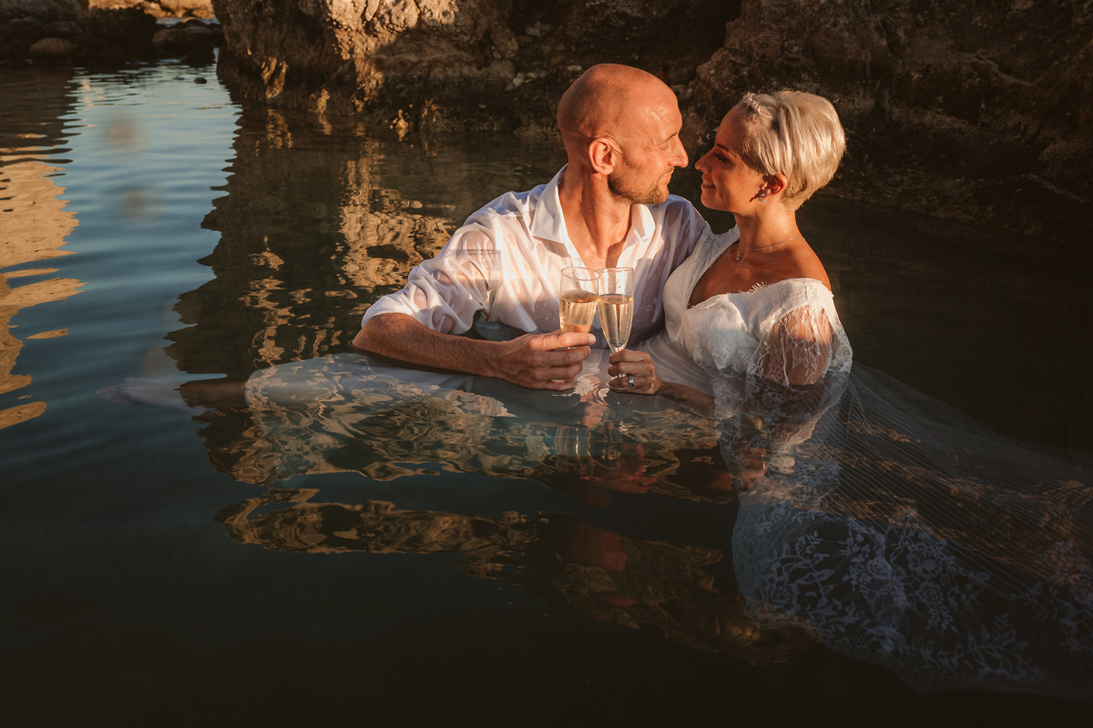 Alana & Luke's Sensational Underwater Cyprus Sea Caves Trash the Dress Shoot 20
