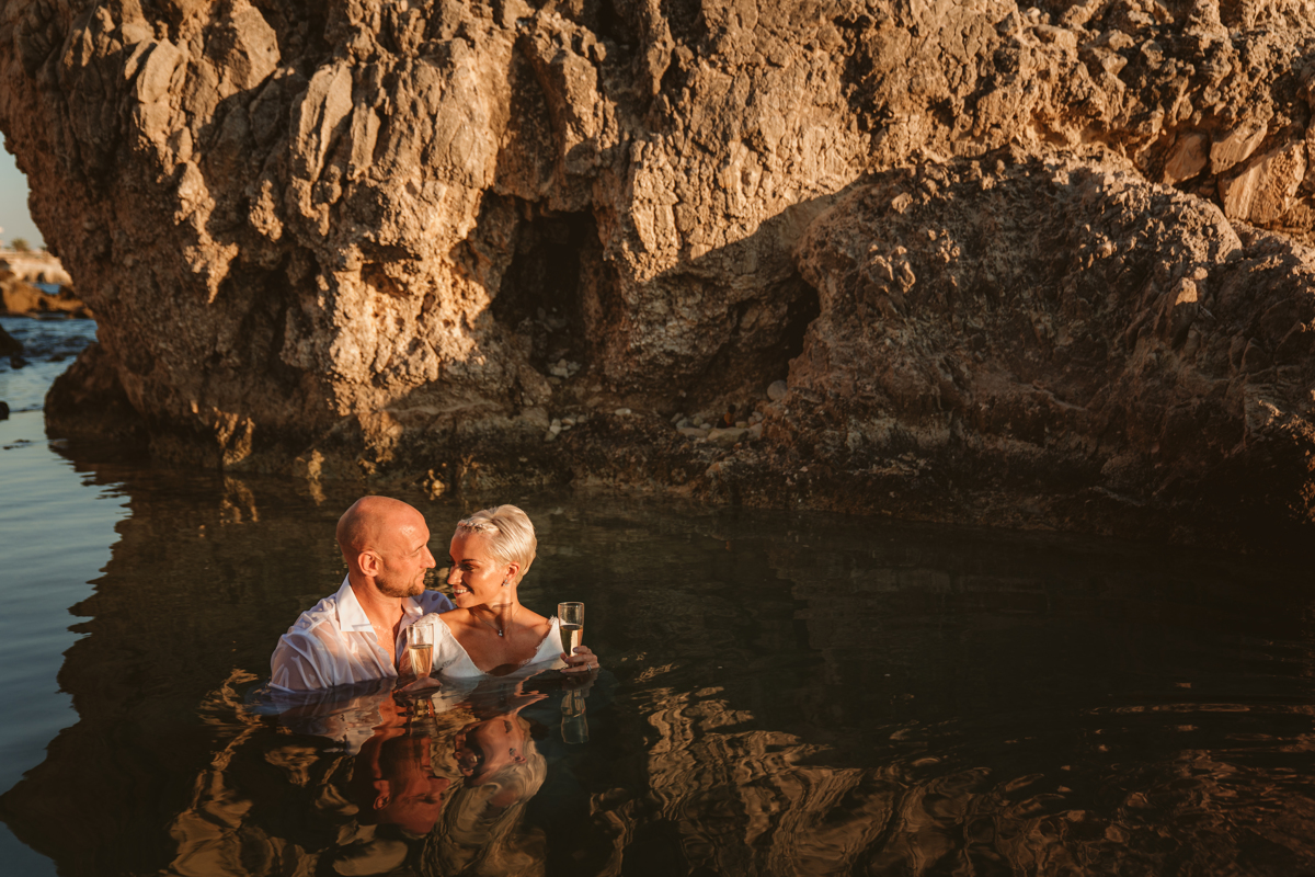 Alana & Luke's Sensational Underwater Cyprus Sea Caves Trash the Dress Shoot 21
